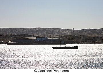 puerto, luderitz, barco, silueta