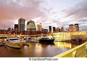 Puerto Madero, Buenos Aires - Nightly panorama of the Puerto...