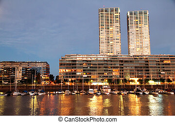 Puerto Madero in Buenos Aires - Night shot of the Puerto...
