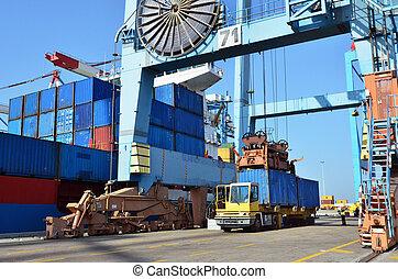 puerto marítimo, carga, -, envío, carga