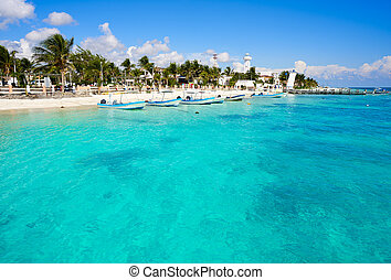 Puerto Morelos beach in Mayan Riviera Maya of Mexico