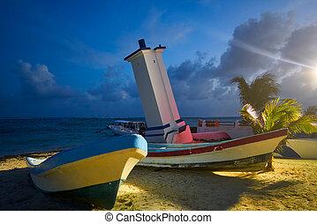 Puerto Morelos sunset bent lighthouse in Riviera Maya of ...