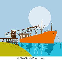 puerto, muelle, grúa, carga, barco