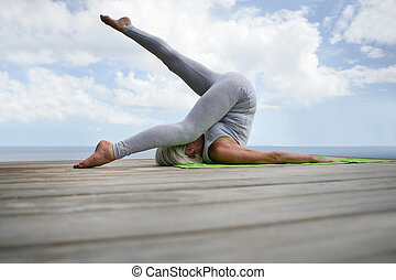puerto, mujer, yoga