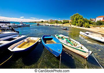 puerto, na, moru, biograd, playa, vista