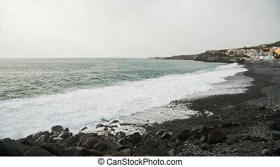 Puerto Naos Beach In La Palma, Spain - View to the black...