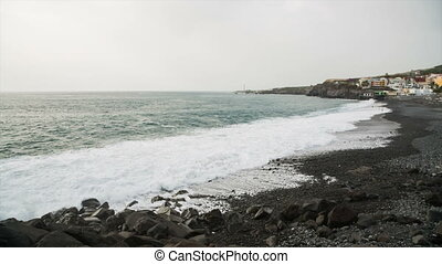 Puerto Naos Beach In La Palma, Spain - View to the black...