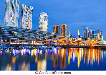 puerto, nuit, aires, madero, buenos