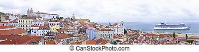 puerto, panorama, lisboa, portugal, casas