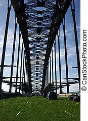 puerto, puente, grass., sydney, cubierto