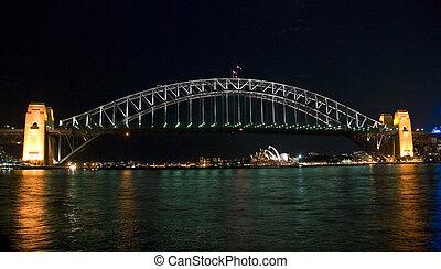 puerto, puente, sydney, noche