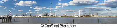 puerto, refinería, Amberes,  panorama