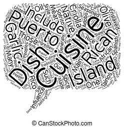 Puerto Rican Cuisine text background wordcloud concept