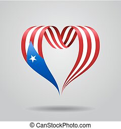 Puerto Rican flag heart-shaped ribbon. Vector illustration.
