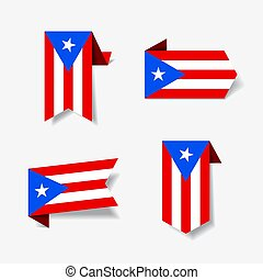 Puerto Rican flag stickers and labels. Vector illustration....
