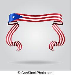 Puerto Rican flag wavy ribbon background. Vector...