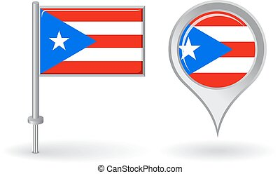 Puerto-Rican pin icon and map pointer flag. Vector...