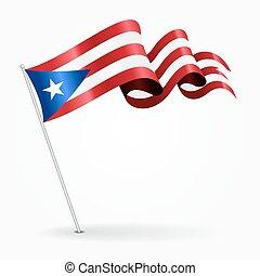 Puerto Rican pin wavy flag. Vector illustration. - Puerto...