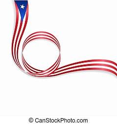 Puerto Rican wavy flag background. Vector illustration. -...