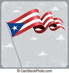 Puerto Rican wavy flag. Vector illustration. - Puerto Rican...