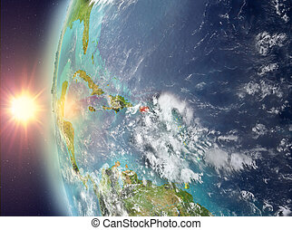 Puerto Rico during sunset from space