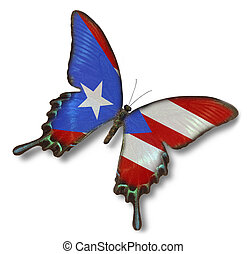 Puerto Rico flag on butterfly isolated on white