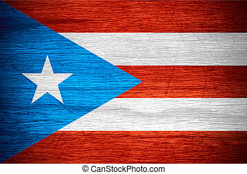 Puerto Rico flag or banner on wooden texture
