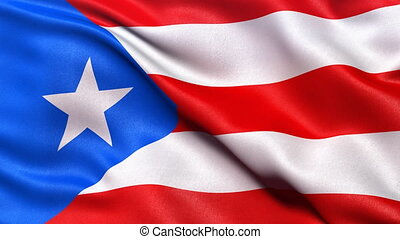 Realistic flag of Puerto Rico waving in the wind. Seamless loop with highly detailed fabric texture.