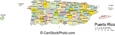 Puerto Rico Island, editable vector map broken down by administrative districts includes surrounding countries, in color with cities, district names and capitals, all objects editable. Great for building sales and marketing territory maps, illustrations, web graphics and graphic design.