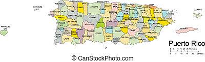 Puerto Rico, Island, Administrative Districts, Capitals -...