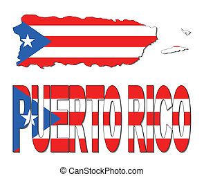 Puerto Rico map flag and text