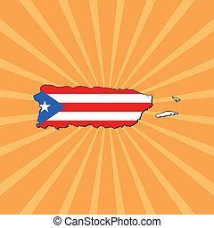 Puerto Rico map flag on sunburst