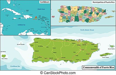 Map of puerto rico with cities