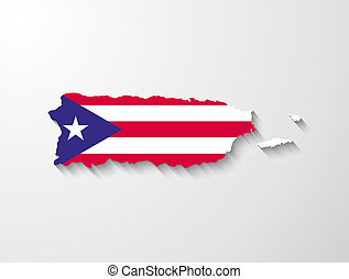 Puerto Rico map with shadow effect presentation