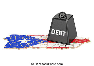Puerto Rico national debt or budget deficit, financial crisis concept, 3D rendering
