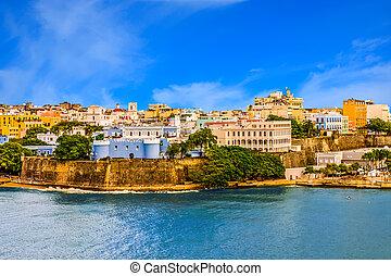 Puerto Rico on a Sunny Day - Buildings on the coast of San...