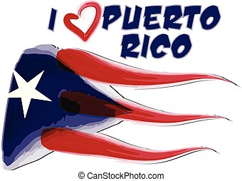 Puerto Rico painted flag icon logo