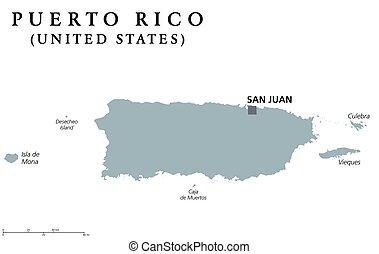 Puerto rico, island, administrative districts, capitals. Puerto rico ...