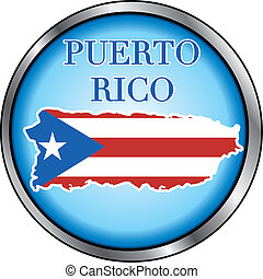 Puerto Rico Round Button - Vector Illustration for Puerto...