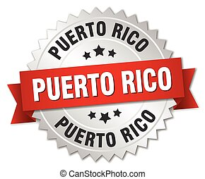 Puerto Rico round silver badge with red ribbon