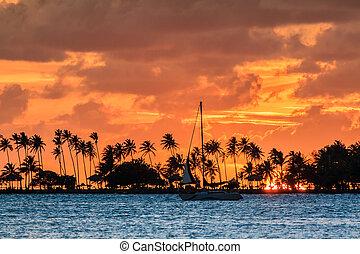 Puerto Rico sailing sunset