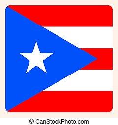Puerto Rico square flag button, social media communication...