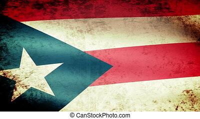 Puerto Rico State Flag Waving, grunge look