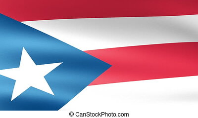 Puerto Rico State Flag Waving
