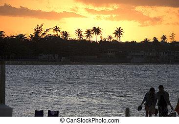 Puerto Rico sunset west of island