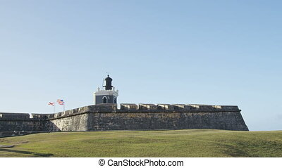 Puerto Rico tourist destination Landmark Castillo San Felipe Del Morro in Old San Juan. The main tourist attraction of the city and visited by many Caribbean cruise ship tourists on vacation.
