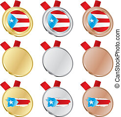 puerto rico vector flag in medals