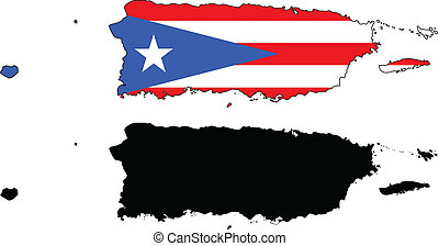 puerto rico - vector map and flag of Puerto Rico with white...