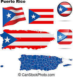 Puerto Rico vector set. Detailed country shape with region borders, flags and icons isolated on white background.