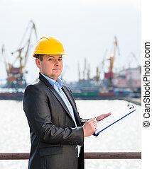 puerto, supervisión, ingeniero